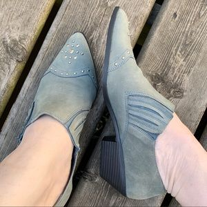 Shoes - Western Blue Suede Leather Short Booties